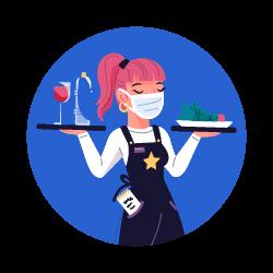 serveuse tenant des plats